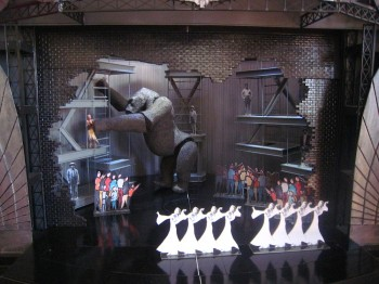 Production Development Set Model of Kong Breaking Out Of Time Square Theatre. Image by Peter England