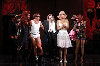 Erika Heynatz, Tim Maddren, Kristian Lavercombe, Christie Whelan Browne and Ashlea Pyke in the Rocky Horror Show. Image by Jeff Busby