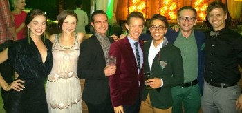 Emily Cascarino (Nessa), Rachel Cole (swing), Joseph O'Sullivan (swing), Ed Grey (Boq), Chris Scalzo (ensemble) and Steve Danielsen (Fiyero with a WICKED fan - Opening Night Party Manila at The Diamond Hotel