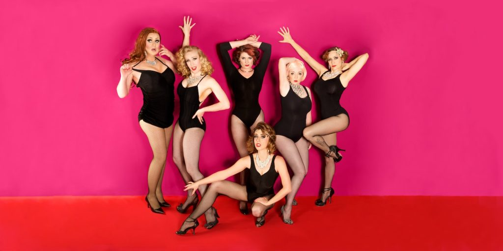 From Left to Right: Leasa Mann, Honey B Goode, Adelaide Everheart, Dolores Daiquiri, Willow J Bottom: Caterina Vitt   Photo by: Rob Vallender Photography