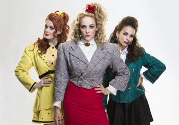 Rebecca Hetherington, Lucy Maunder and Libby Asciak as The Heathers. Image by John McRae