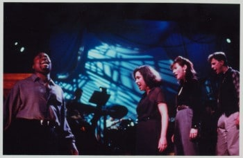 """October 1995, WPA Theatre, NY NY: The original cast of """"Songs for a New World"""" performs """"Flying Home."""" Billy Porter, Andrea Burns, Jessica Molaskey, Brooks Ashmanskas [Photo credit: Stephan Olson]"""