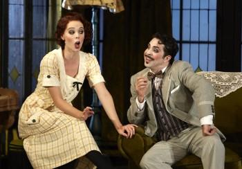 Anna Dowsley (Rosina) and Paolo Bordogna (Figaro) in Opera Australia's The Barber of Seville. Photo credit Keith Saunders