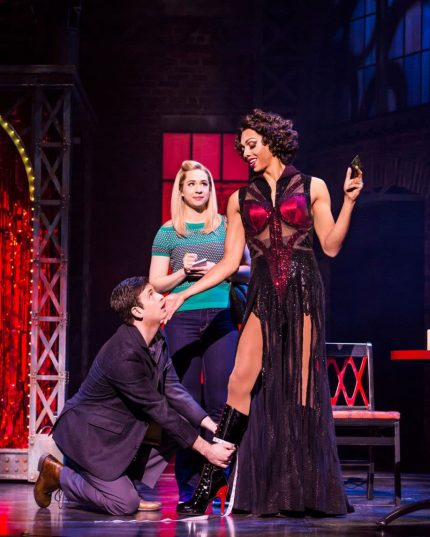 Toby Francis, Sophie Wright, and Callum Francis in Kinky Boots. Image by Matthew Murphy.