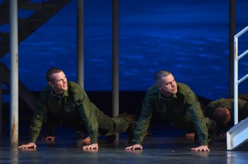 Alex Rathgeber and Ben Mingay in An Officer and a Gentleman. Image by Brian Geach