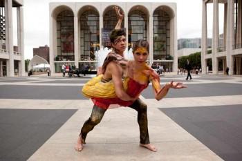 Jake Mangakahia (The Australian Ballet) and Ella Havelka (Bangarra) in Warumuk, Lincoln Centre. Photo by Lisa Tomasetti