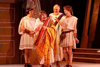 Mitchell Butel, Gerry Connolly, Shane Bourne and Geoffrey Rush in FORUM (c) Jeff Busby