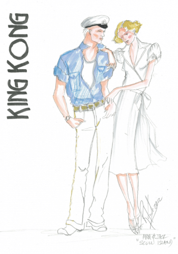 Roger Kirk's costume sketch for King Kong