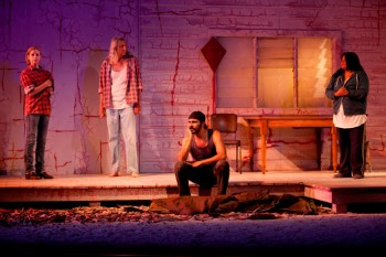 Heather Mitchell, George Shevtsov, Aaron Pedersen and Pauline Whyman in Signs of Life. Image by Lisa Tomasetti 2012