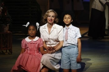 Lisa McCune with Ngana and Jerome in the Sydney Production. Image by Jeff Busby