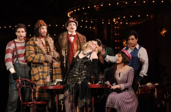 Samuel Dundas as Marcello, David Parkin as Colline, Shane Lowrencev as Schaunard, Lorina Gore as Musetta, Gianluca Terranova as Rodolfo and Nicole Car as Mimì. Image by Branco Gaica