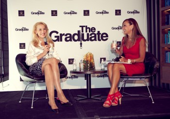 Jerry Hall (left) and at the Melbourne launch of 'The Graduate'