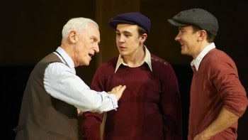John Stanton, left, as Willy Loman, with Ben O'Toole and Josh McConville in Arthur Miller's Death of a Salesman. Picture: Gary Marsh. Source: Supplied