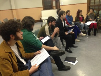 The Bloody Bloody Andrew Jackson cast in rehearsals.