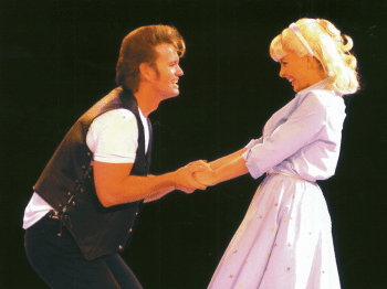 Craig McLachlan and Natalie Bassingthwaighte as Danny and Sandy in the 2005 Arena Spectacular