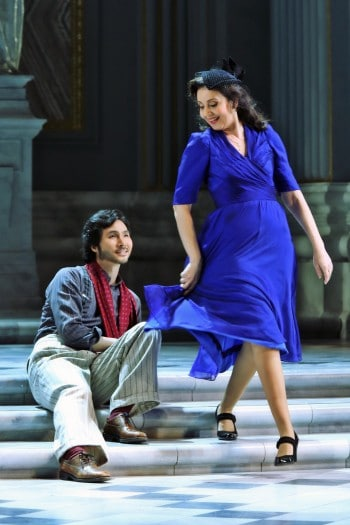 Alexia Voulgaridou and Yonghoon Lee in Tosca. Image by Prudence Upton
