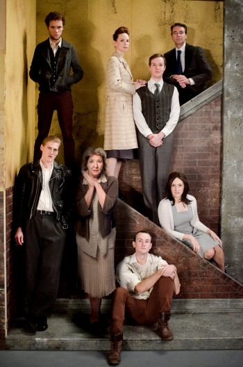 The cast of Blood Brothers: Lewis Edwards, Josh Te Paa,  Amanda Muggleton, Shaun Kohlman, Zack Anthony, Julie Cotterell, Dale Pengelly and Stacey De Waard. Photo:  Trent Rouillon