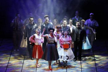 Lucy Maunder and the Australian Cast of Grease. Photo by Jeff Busby.