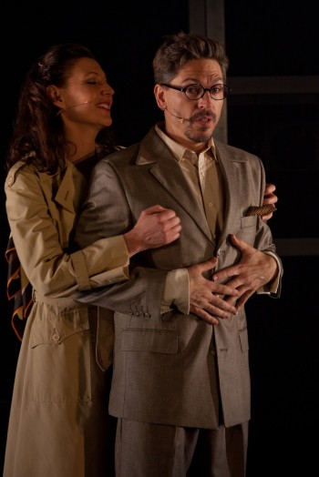 Bronwyn Mulcahy and Michael Falzon. Michael Falzon in Atomic. Photo by Gez Xavier Mansfield Photography.
