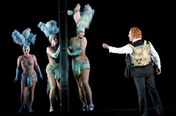 Dominica Matthews, Lorina Gore and Jane Ede as the Rhinemaidens, Stefan Vinke as Siegfried
