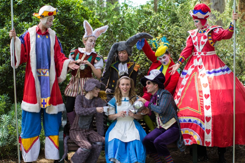 Sage Douglas as Alice in Wonderland with cast - PHOTO CREDIT TONY RIVE