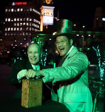 Jay Laga'aia 'greenifying' the entire of Auckland city for WICKED Opening Night. Image by Michael Bradley