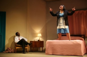 Candy Bowers as Camae and Pacharo Mzembe as Dr Martin Luther King Jnr Photo:  Rob Mccoll