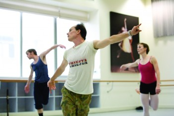 Tim Harbour centre in rehearsals for The Australian Ballet's Halcyon.