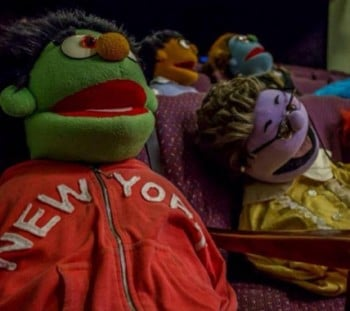 The puppets take a rehearsal break in Avenue Q. [Image Supplied]