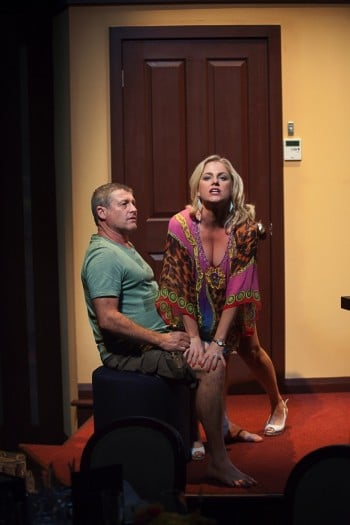 Peter Phelps and Helen Dallimore in CRUISE CONTROL. Photo by Clare Hawley