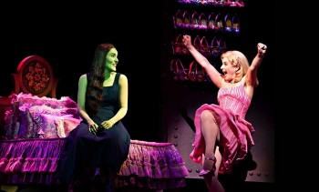 Jemma Rix as Elphaba and Lucy Durack as Glinda in WICKED. Image by Belinda Strodder