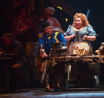 Trevor Ashley and Lara Mulcahy as the Thenardiers in Les Miserables. Image by Matt Murphy