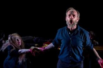 Hugo Weaving and Melita Jurisic in Macbeth. Photo by Brett Boardman.