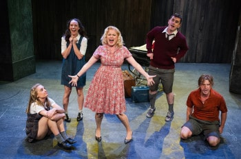 Christy Sullivan, Erin James, Helen Dallimore, Bobby Fox and Jamie Kristian  in Blood Brothers. Image by Kurt Sneddon