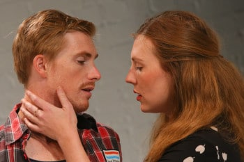 Michael Whalley and Matilda Ridgway in COCK at the Old Fitz - Photo by Tim Levy
