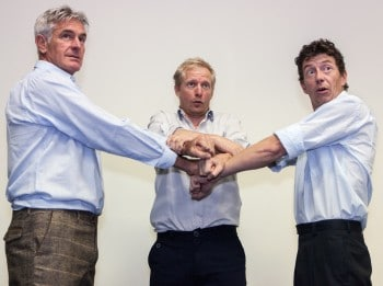 Alan Lovell, Jeremy Water, Dominic McDonald, about to appear in Five Properties of Chainmale. Photo by Richard Farland.