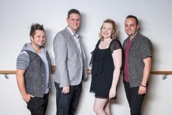 Craig Nhobbs, Rod Bertram, Elle Zattera and Josh Ramsom. Birdie Productions' team. Birdie Productions' Hot Shoe Shuffle. Photo Grant Leslie, Perfect Images.