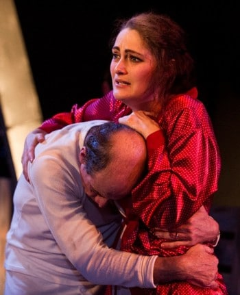 Geoff Sirmai and Caroline Levien in The Diary of Anne Frank.  Photograph by Matthias Engesser.