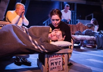 Martin Portus, Justina Ward, and Jodine Muir in The Diary of Anne Frank. Photograph by Matthias Engesser.