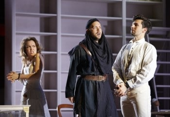 Emily Edmonds, Christopher Lowrey,  and Russell Harcourt  in Pinchgut Opera's Bajazet. Photograph by Keith Saunders.