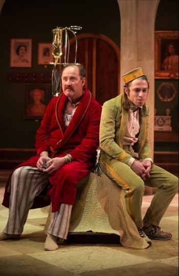 Paul Blackwell and James Smith in Volpone. Photo by Shane Reid