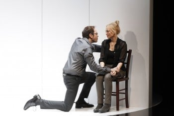 Steve Mouzakis and Susie Porter in Sydney Theatre Company and Melbourne Theatre Company's Death and the Maiden. Photo by Jeff Busby.