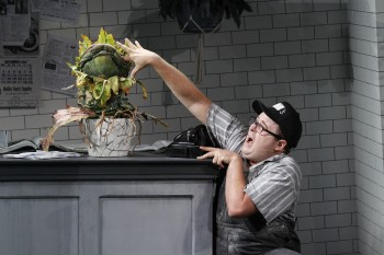 Audrey II and Brent Hill as Seymour. Photo by Jeff Busby.