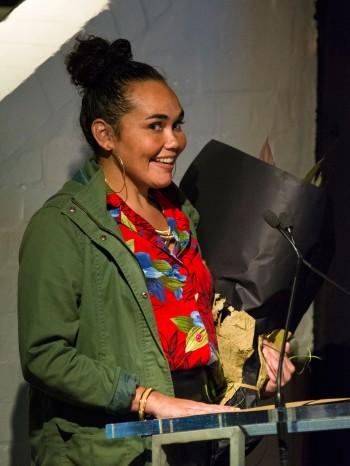 Katie Beckett accepts the 2015 Balnaves Award. Image: Patrick Boland.