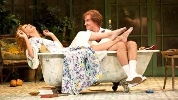Heather Mitchell and Josh McConville in Hay Fever.
