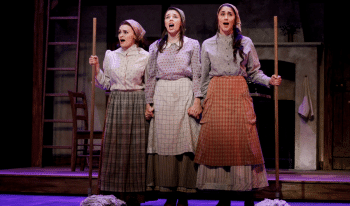Monica Swayne (far right) as Hodel in Fiddler on the Roof. Photo by Jeff Busby.