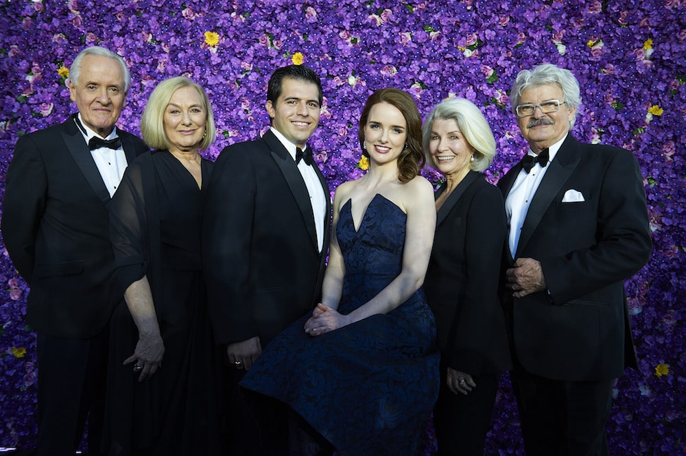 Tony Llewellyn-Jones, Deidre Rubenstein, Mark Vincent, Anna O'Byrne, Robyn Nevin and Reg Livermore. Principal cast of My Fair Lady at the official cast launch in Sydney