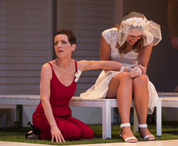 Christen O'Leary and Ellen Bailey in Much Ado About Nothing - QTC. Image Supplied.