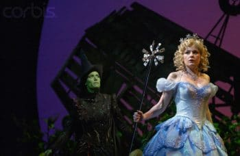 Idina Menzel and Helen Dallimore in the original West End production of Wicked. Photography by Robbie Jack/Corbis.