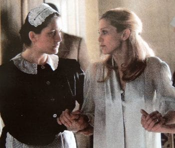 Sally with Madonna in the film version of 'Evita'
